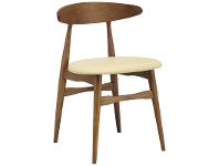 LivingStyles Telyn Oak Timber Dining Chair, Cocoa / Cream