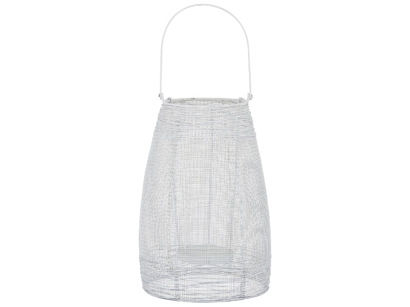 Hyde Metal Mesh Lantern, Large, White
