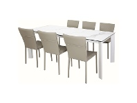 LivingStyles Madrid 7 Piece Ceramic Glass Top Dining Table Set, 200cm