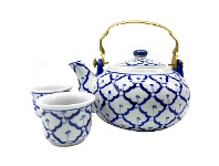 LivingStyles Miyako 3 Piece Hand Painted Ceramic Oriental Teapot & Cup Set, No.2, Large