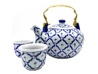 LivingStyles Miyako 3 Piece Hand Painted Ceramic Oriental Teapot & Cup Set, No.2, Small