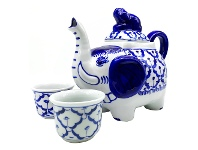 LivingStyles Miyako 3 Piece Hand Painted Ceramic Oriental Teapot & Cup Set, No.3, Large