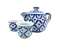 LivingStyles Miyako 3 Piece Hand Painted Ceramic Oriental Teapot & Cup Set, No.5, Small