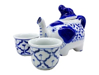 LivingStyles Miyako 3 Piece Hand Painted Ceramic Oriental Teapot & Cup Set, No.3, Small