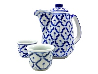 LivingStyles Miyako 3 Piece Hand Painted Ceramic Oriental Teapot & Cup Set, No.5, Large