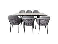 LivingStyles Horsburgh 7 Piece Outdoor Dining Table Set, 200cm