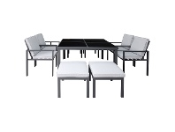 LivingStyles Roxburgh 9 Piece Outdoor Dining Table Set, Gunmetal