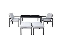 LivingStyles Roxburgh 5 Piece Outdoor Dining Table Set, Gunmetal