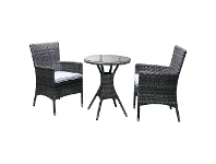 LivingStyles Sanford 3 Piece Wicker Outdoor Round Dining Table Set, 60cm