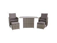 LivingStyles Cosham 5 Piece Wicker Outdoor Recliner Lounge / Dining Set