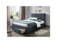 LivingStyles Massadona Fabric Bed with End Drawers, Double, Grey