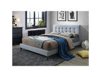 LivingStyles Paradox Fabric Bed, Double, Light Grey