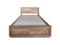 LivingStyles Lambton Messmate Timber Bed with End Drawers, King