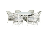 LivingStyles Matera 7 Piece Wicker Outdoor Round Dining Table Set, 140cm