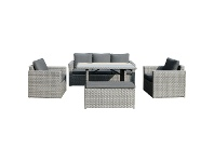 LivingStyles Deerton 5 Piece Wicker Outdoor Dining / Lounge Set, 140cm
