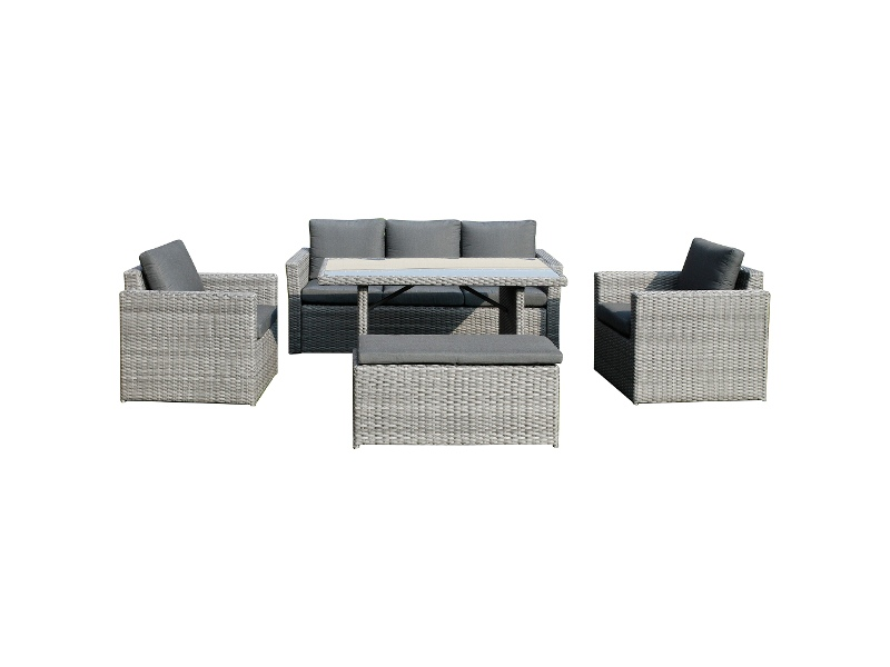 Deerton 5 Piece Wicker Outdoor Dining / Lounge Set, 140cm