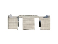 LivingStyles Coteau 3 Piece Wicker Outdoor Dining Set, 120cm