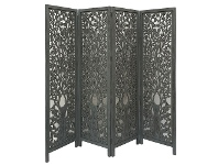 LivingStyles Indore Wooden Quad Fold Screen, Charcoal