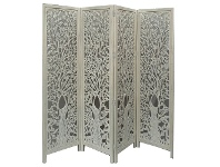 LivingStyles Indore Wooden Quad Fold Screen, Ivory