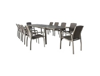Ruby 11 Piece Aluminium Outdoor Dining Table Set, 220-346cm, Champagne