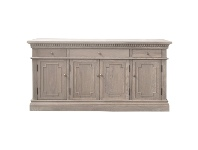 LivingStyles St. James Oak Timber 4 Door 3 Drawer Sideboard, 165cm, Weathered Oak