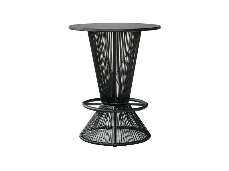 Wanika Commercial Grade Indoor/Outdoor Round Aluminium Top Bar Table, Black