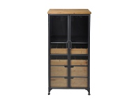 LivingStyles Taylor Commercial Grade Industrial Iron Tall Wine Cabinet