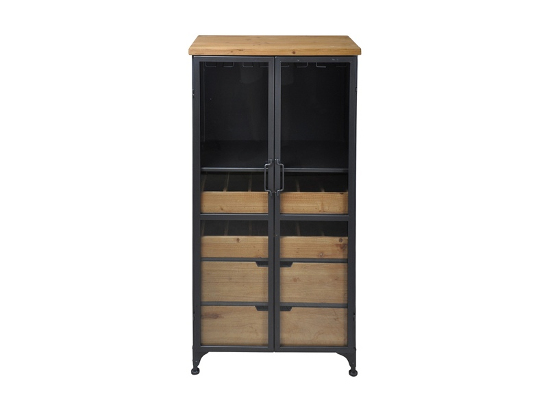 Taylor Commercial Grade Industrial Iron Tall Wine Cabinet