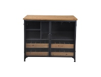 LivingStyles Taylor Commercial Grade Industrial Iron Low Wine Cabinet