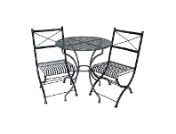 LivingStyles Rye 3 Piece Metal Outdoor Round Garden Table Set