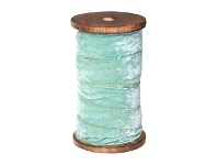 LivingStyles Fray Velvet Ribbon Roll, 10 Meter, Light Aqua