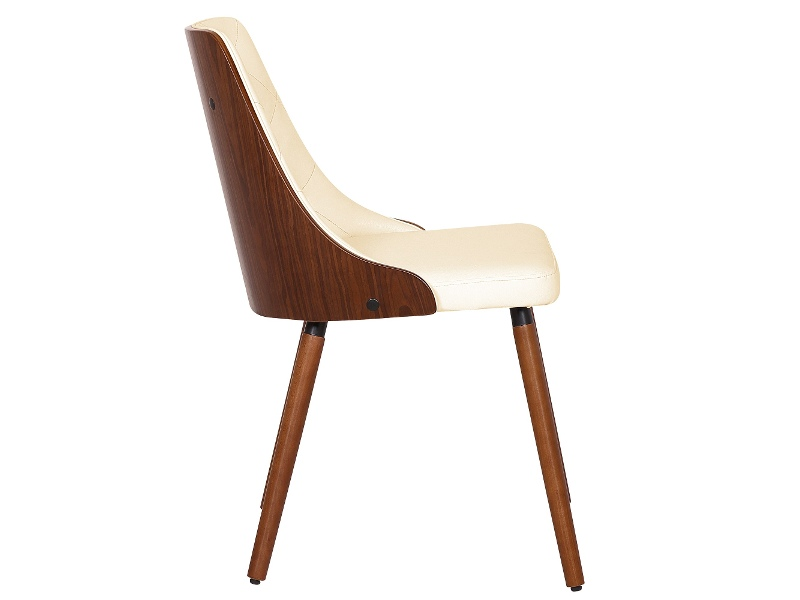 Yvonne Commercial Grade PU Leather & Timber Dining Chair, Walnut / Cream