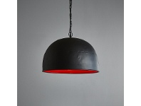 LivingStyles Noir Riveted Iron Dome Pendant Light, Small, Black / Red