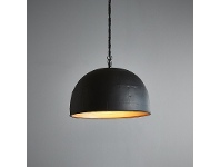 LivingStyles Noir Riveted Iron Dome Pendant Light, Small, Black / Gold