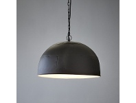 LivingStyles Noir Riveted Iron Dome Pendant Light, Large, Black / White