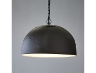 LivingStyles Noir Riveted Iron Dome Pendant Light, Small, Black / White