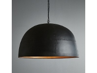 LivingStyles Noir Iron Dome Pendant Light, Large, Black / Gold