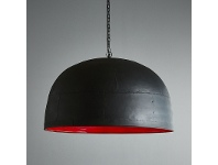 LivingStyles Noir Iron Dome Pendant Light, Large, Black / Red