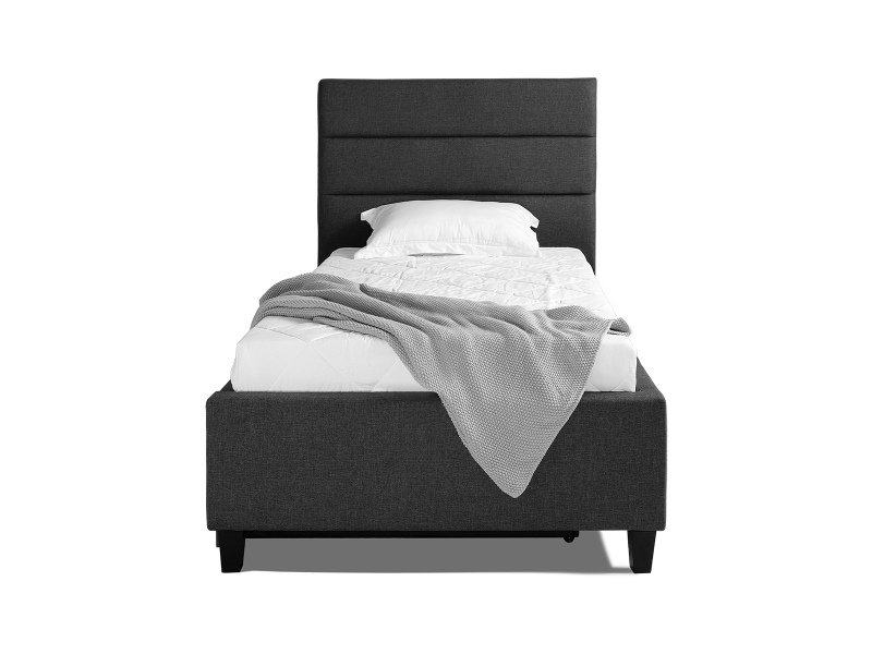 Ascot Fabirc Platform Bed with Trundle, Single, Charcoal