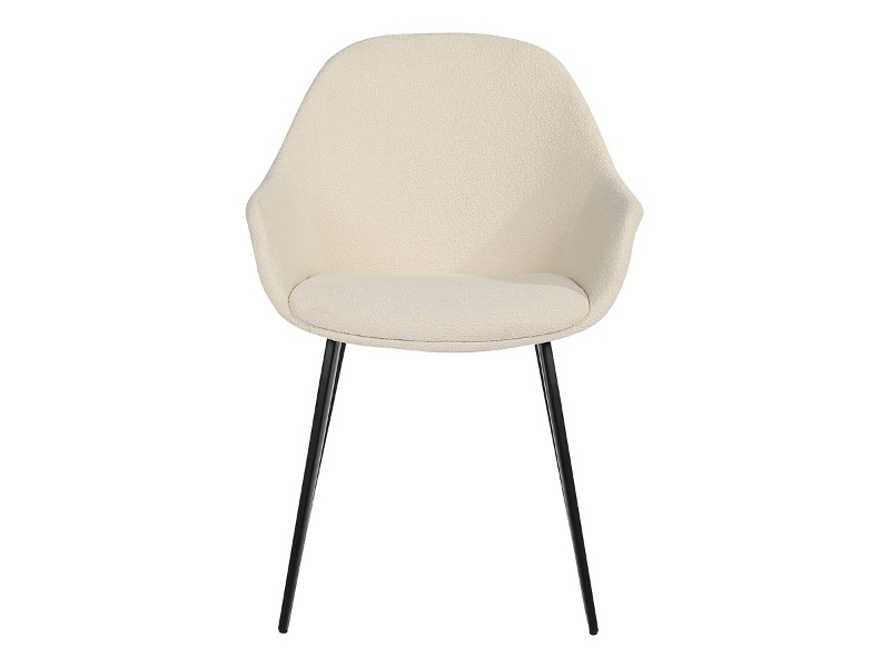 Fido Commercial Grade Boucle Fabric Dining Armchair, Cream
