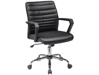 LivingStyles Marque PU Leather Office Chair, Black