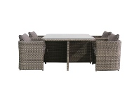 LivingStyles Ingrid 5 Piece Wicker Compact Balcony Dining Table Set, 120cm