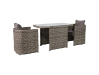 LivingStyles Ingrid 3 Piece Wicker Compact Balcony Dining Table Set, 120cm