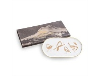 Living & Giving Birds Tray Gold & White 30x15cm