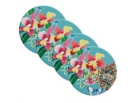 Living & Giving Maxwell & Williams Exotica Tile Coasters Orchid Blue
