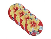 Living & Giving Maxwell & Williams Exotica Tile Coasters Hibiscus Red