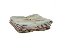 Living & Giving Waffle Tea Towel Set of 3 Grey, Pink & Taupe