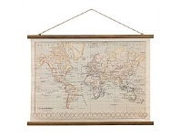 Living & Giving Vintage Canvas World Map 104x89cm