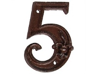 Living & Giving House Number Cast Iron 5
