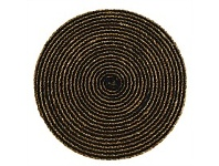 Living & Giving Jute & Cotton Round Placemat Simply Black 38cm